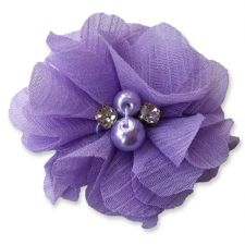 5cm Pearl Diamante LIGHT PURPLE Fabric Flower Applique